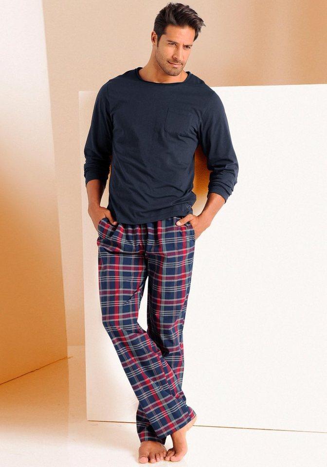 s.Oliver RED LABEL Bodywear Pyjama lang in 1x marine-kariert