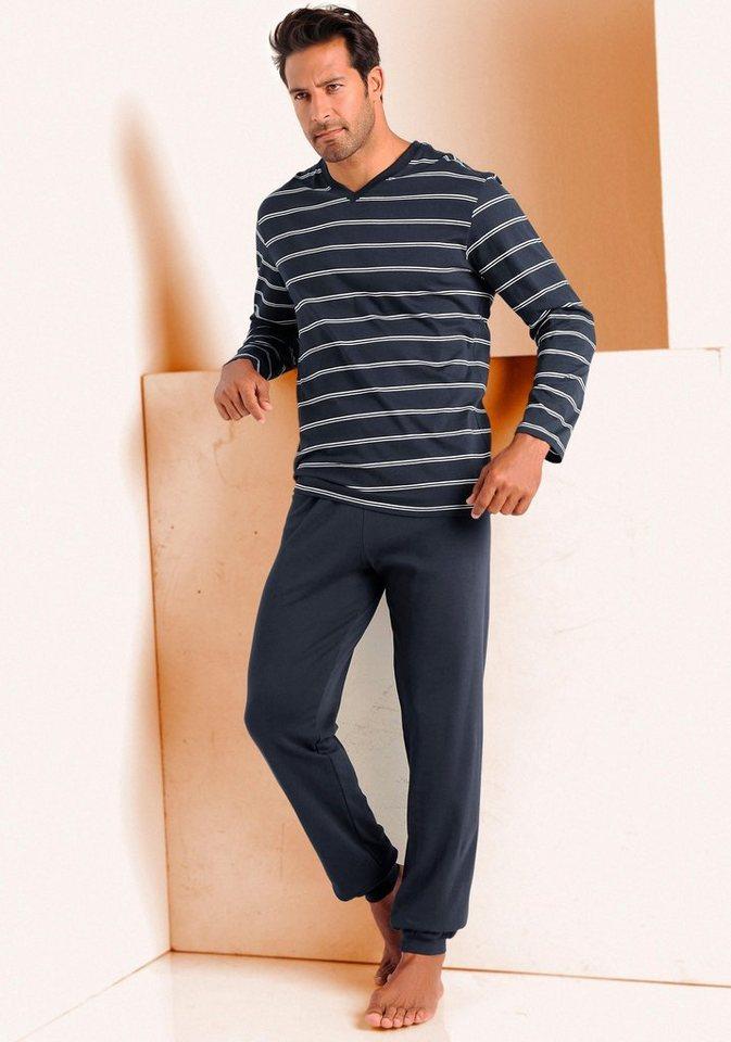 Schiesser Pyjama in 1x marine-weiß
