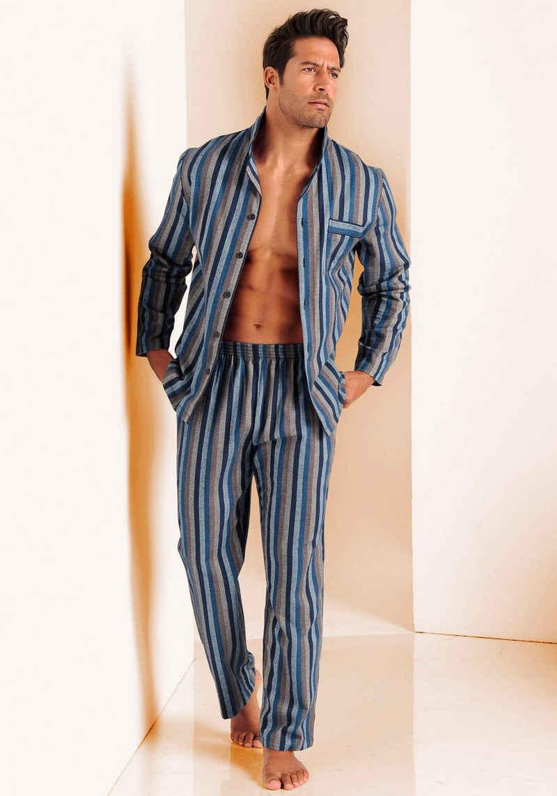 H.I.S Pyjama weich aus Flanell im Streifendesign