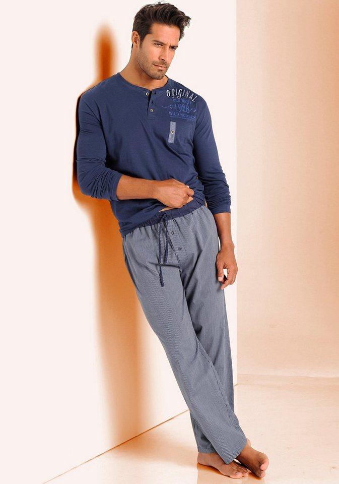 H.I.S Pyjama in 1x marine-weiß