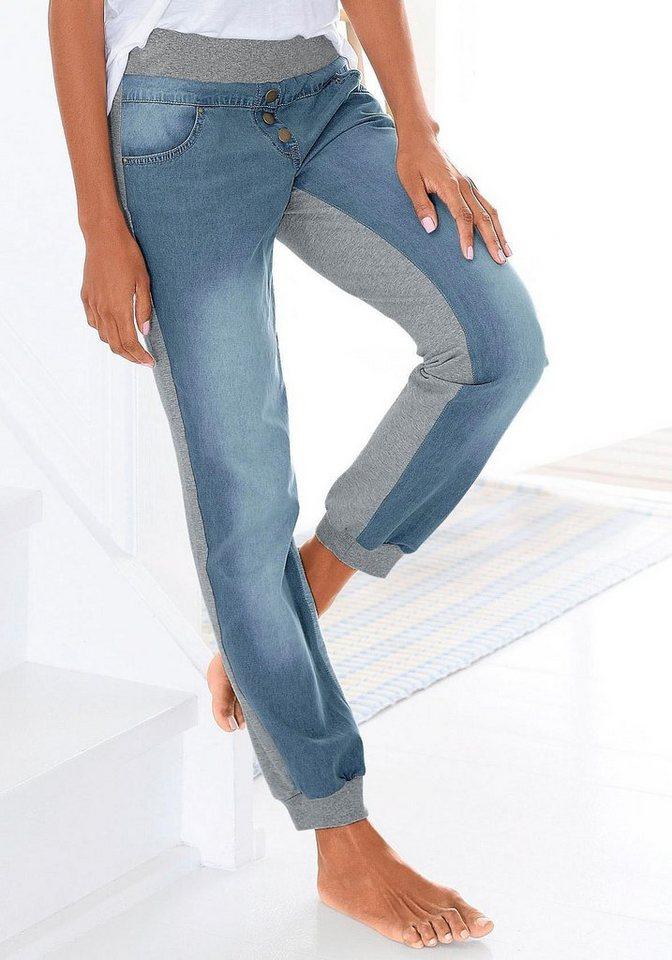 Buffalo Jeans-Sweatwearpants in 1x jeansblau-grau meliert