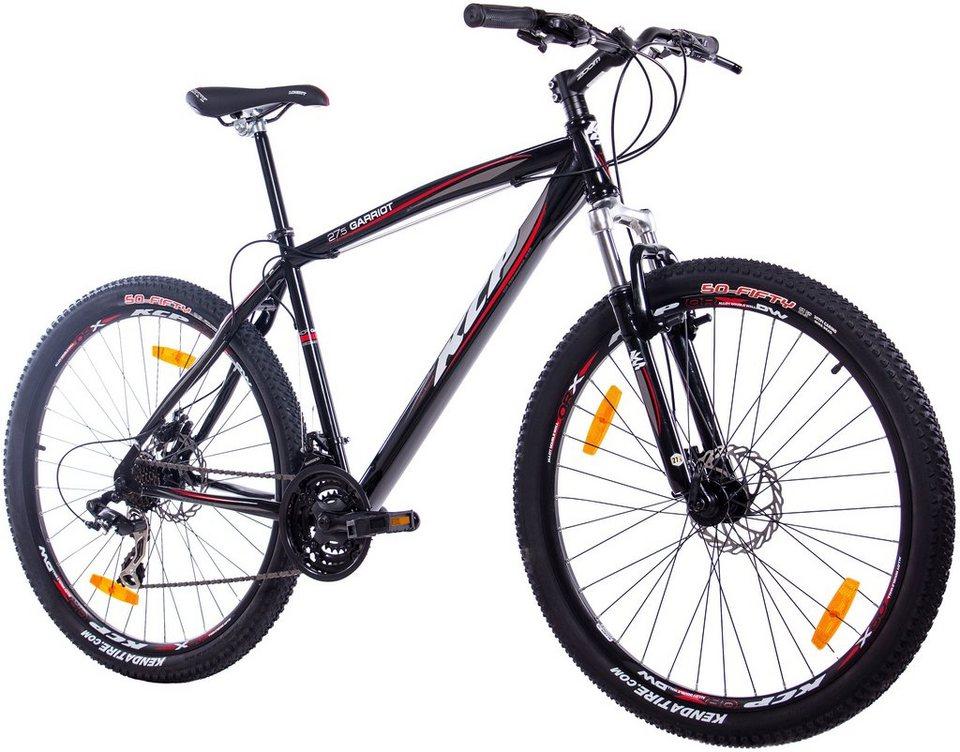 Mountainbike »GARRIOT schwarz«, 27,5 Zoll, 21 Gang, Scheibenbremsen in schwarz