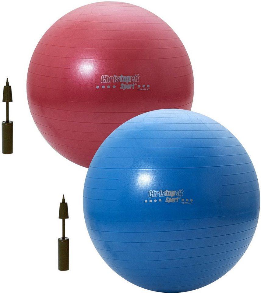 Christopeit Sport® Gymnastikball, 65cm rot / 75cm blau in blau/rot