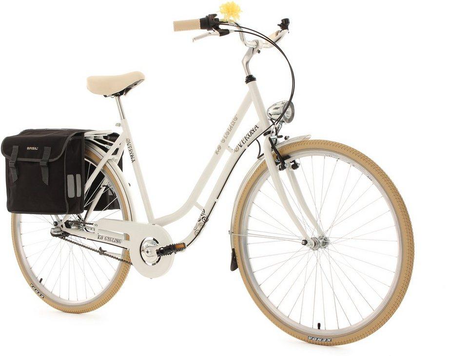 KS Cycling Damen-Cityrad, 28 Zoll, weiß, 3 Gang Shimano Nexus, inkl. Doppelpacktasche, »Verona« in weiß