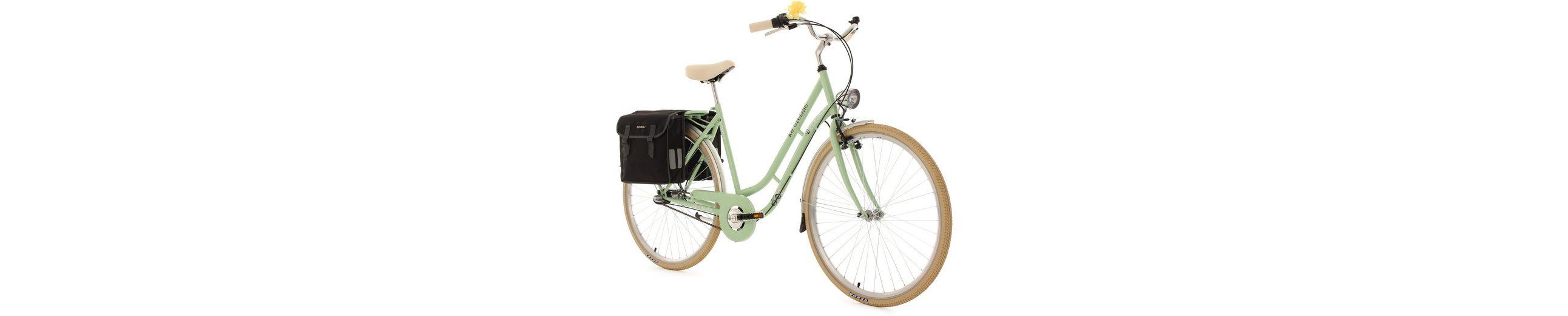 KS Cycling Damen-Cityrad, 28 Zoll, grün, 3 Gang Shimano Nexus, inkl. Doppelpacktasche, »Verona«