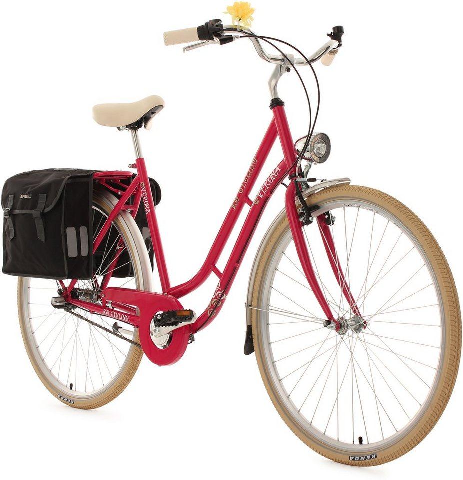 KS Cycling Damen-Cityrad, 28 Zoll, 3 Gang Shimano Nexus, inkl. Doppelpacktasche, »Verona« in himbeerrot