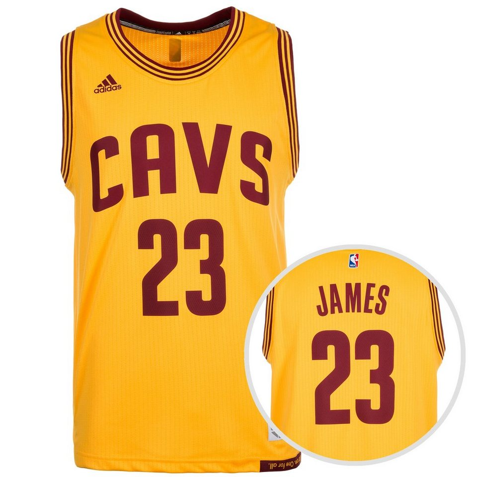 adidas Performance Cleveland Cavaliers James Swingman Basketballtrikot Herren in gelb / bordeaux