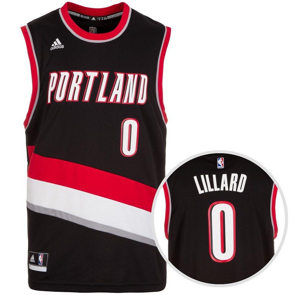 adidas Performance Portland Trail Blazers Lillard Replica Basketballtrikot Herren in schwarz / rot / weiß