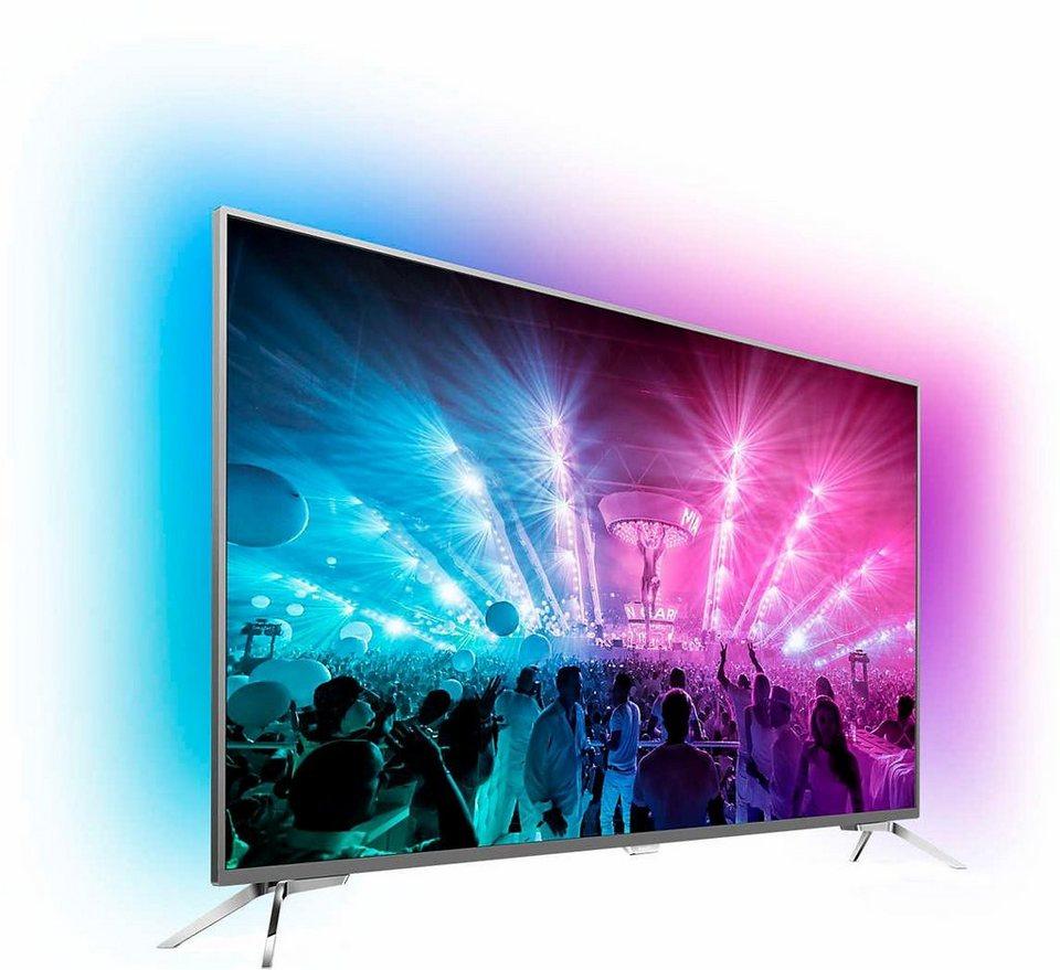 Philips 55PUS7101/12, LED Fernseher, 139 cm (55 Zoll), 2160p (4K Ultra HD) Ambilight, Smart-TV in silberfarben