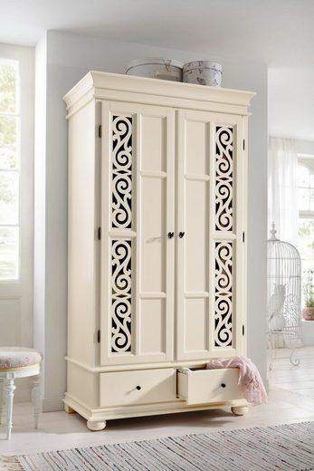 Premium collection by Home affaire Kleiderschrank »Arabeske« aus teilmassivem Holz mit schönen Ornamenten auf den Türfronten