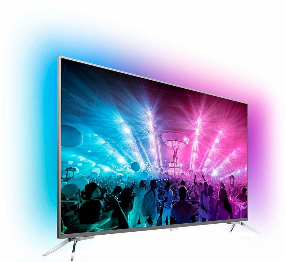 Philips 49PUS7101/12, LED Fernseher, 123 cm (49 Zoll), 2160p (4K Ultra HD) Ambilight, Smart-TV in silberfarben