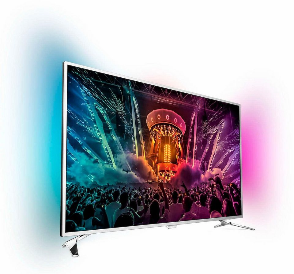 Philips 55PUS6501, LED Fernseher, 139 cm (55 Zoll), 2160p (4K Ultra HD) Ambilight, Smart-TV in silberfarben