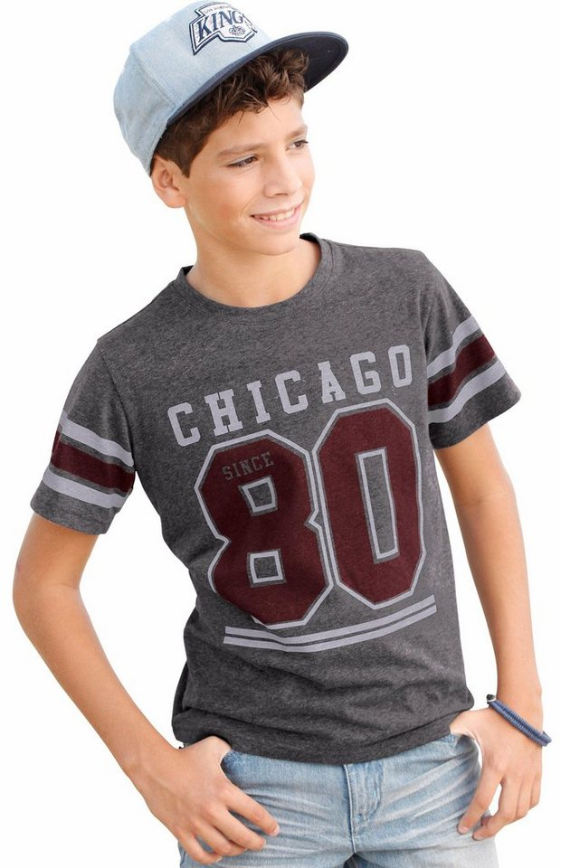 "Arizona T-Shirt ""CHICAGO 80"" in anthrazit-meliert"