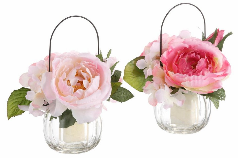 Home affaire Kunstblume »Rosen im Glas« (2er Set) in rosa