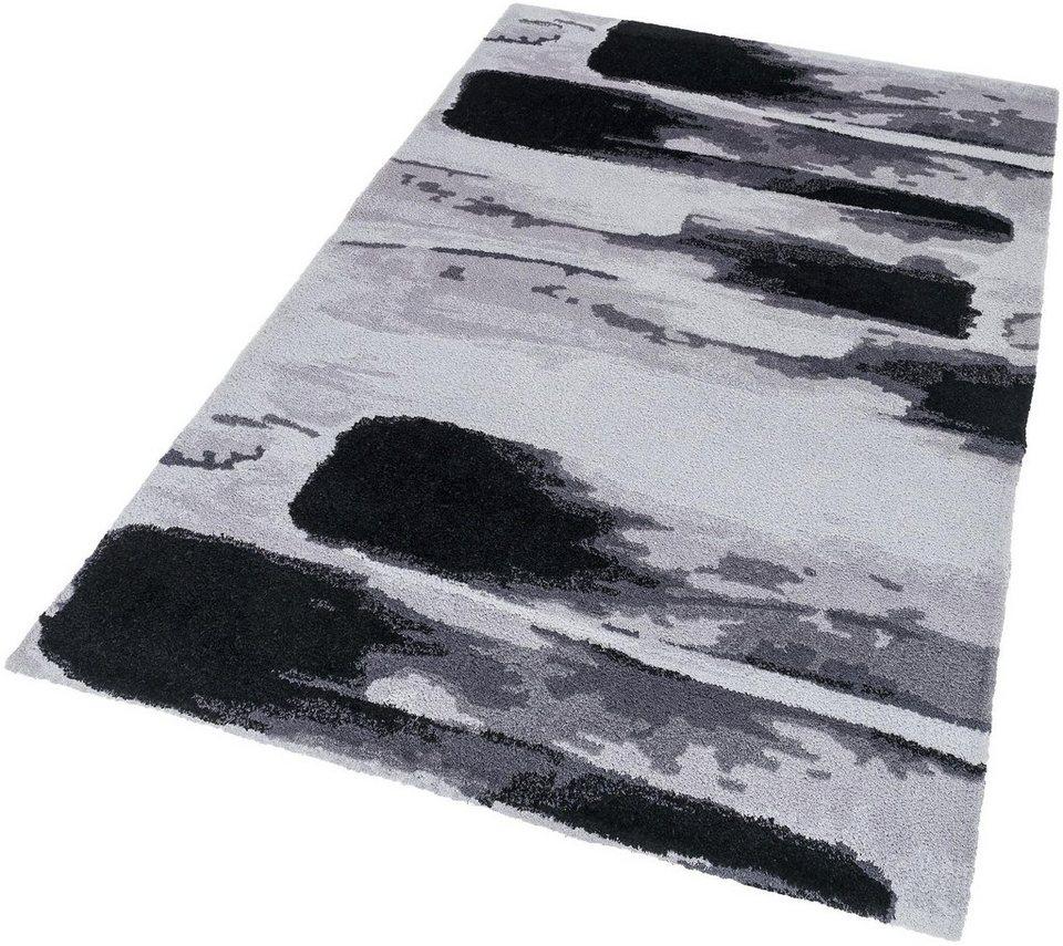 Hochflor-Teppich, Astra, »Verona Brush«, Höhe 25 mm, getuftet in grau schwarz