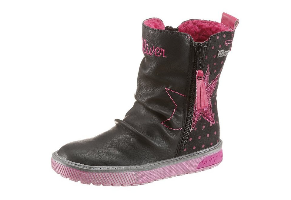 s.Oliver RED LABEL Stiefel mit Warmfutter in dunkelgrau-pink