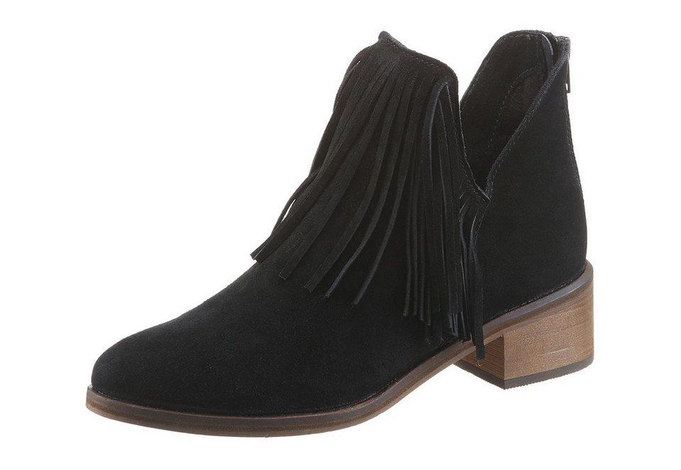 Vero Moda Westernstiefelette mit Fransen in schwarz