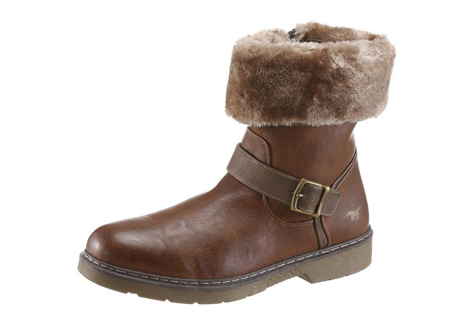 Mustang Shoes Stiefel mit Warmfutter in braun-used