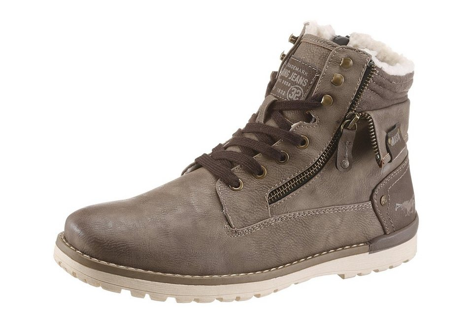 Mustang Shoes Schnürboots mit Warmfutter in taupe-used
