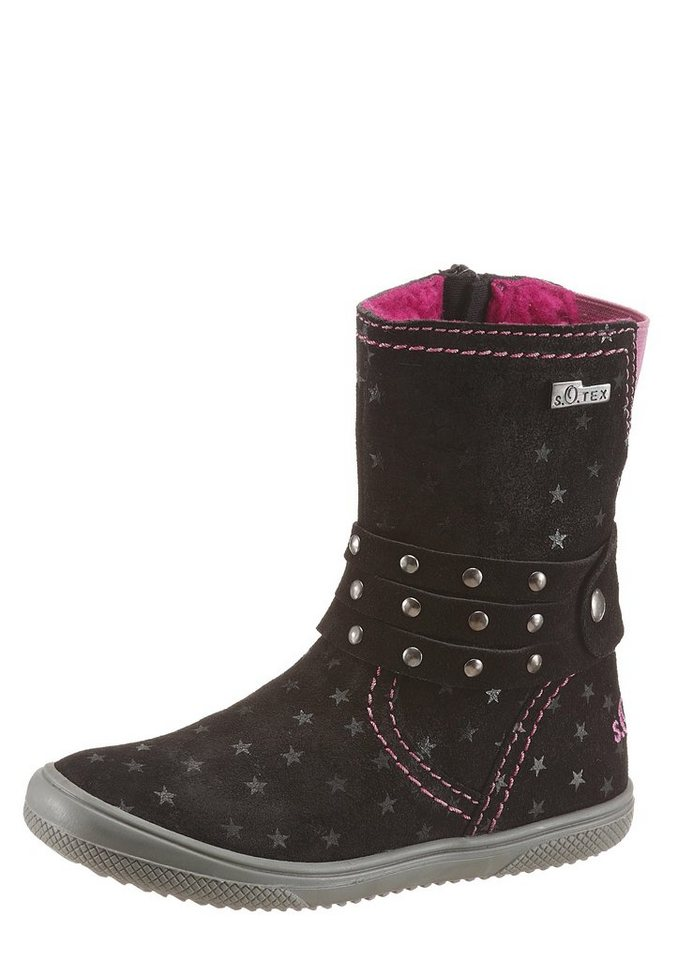 s.Oliver RED LABEL Winterstiefel mit Warmfutter in schwarz-pink
