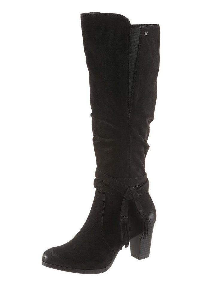 Tom Tailor Stiefel mit modischen Zierbändern in schwarz