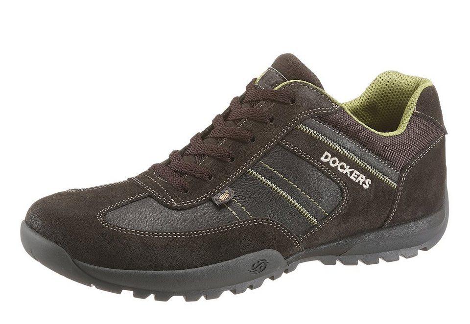 Dockers Sneaker mit Ziernähten in dunkelbraun-neongelb