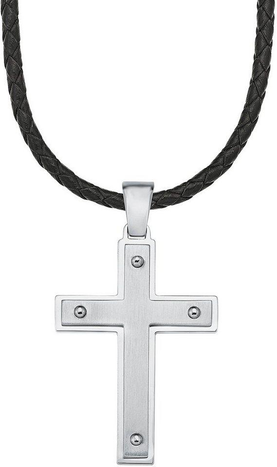 s.Oliver Kette mit Anhänger, »Kreuz, SO1454/1« in silberfarben-schwarz