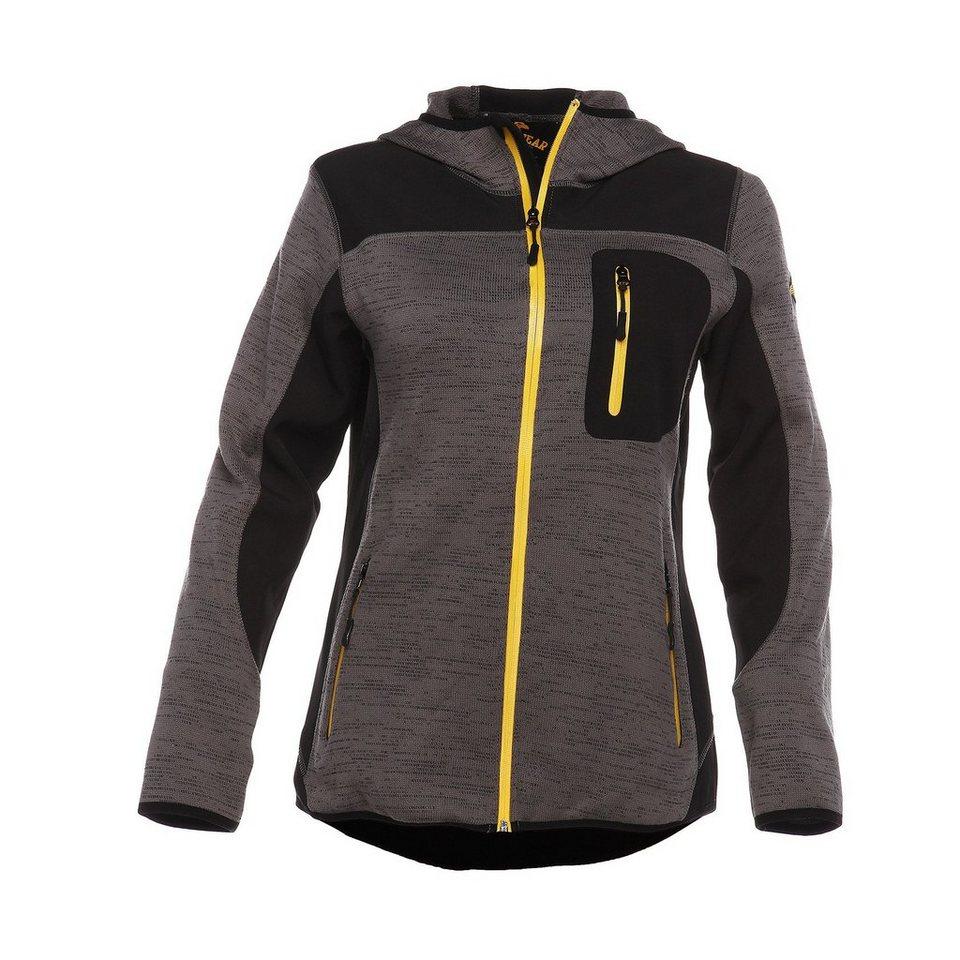 B.R.D.S. Workwear Damen-Stricksoftshelljacke in dunkelgrau/schwarz