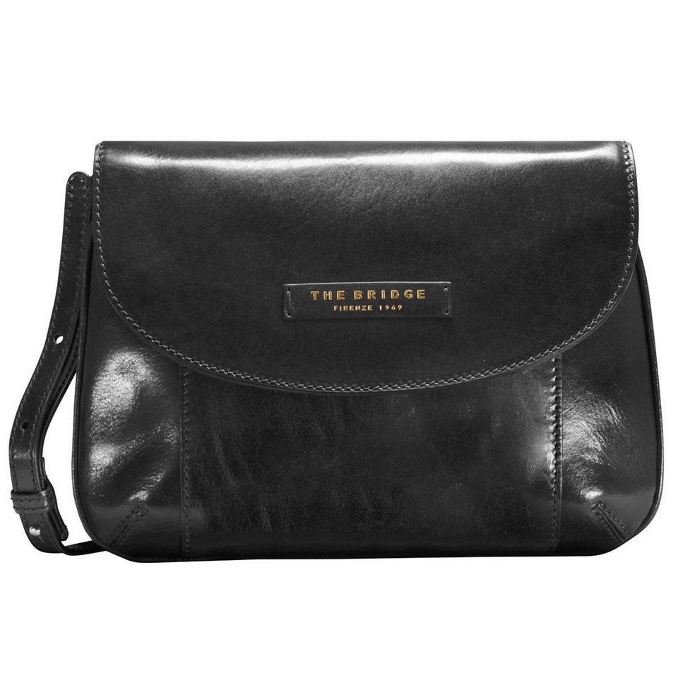 The Bridge Passpartout Donna Mini Bag Umhängetasche Leder 27 cm in nero-goldfarben