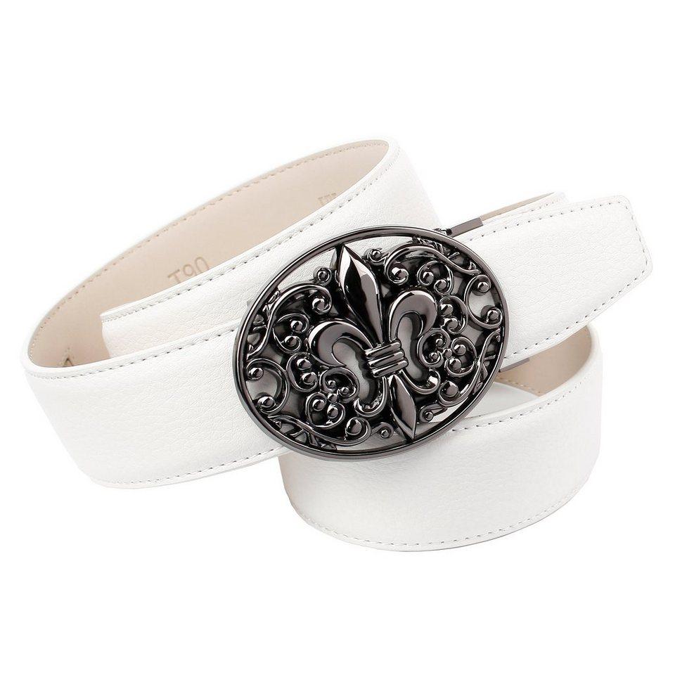 Anthoni Crown Ledergürtel mit Lilie Schließe in Weiss