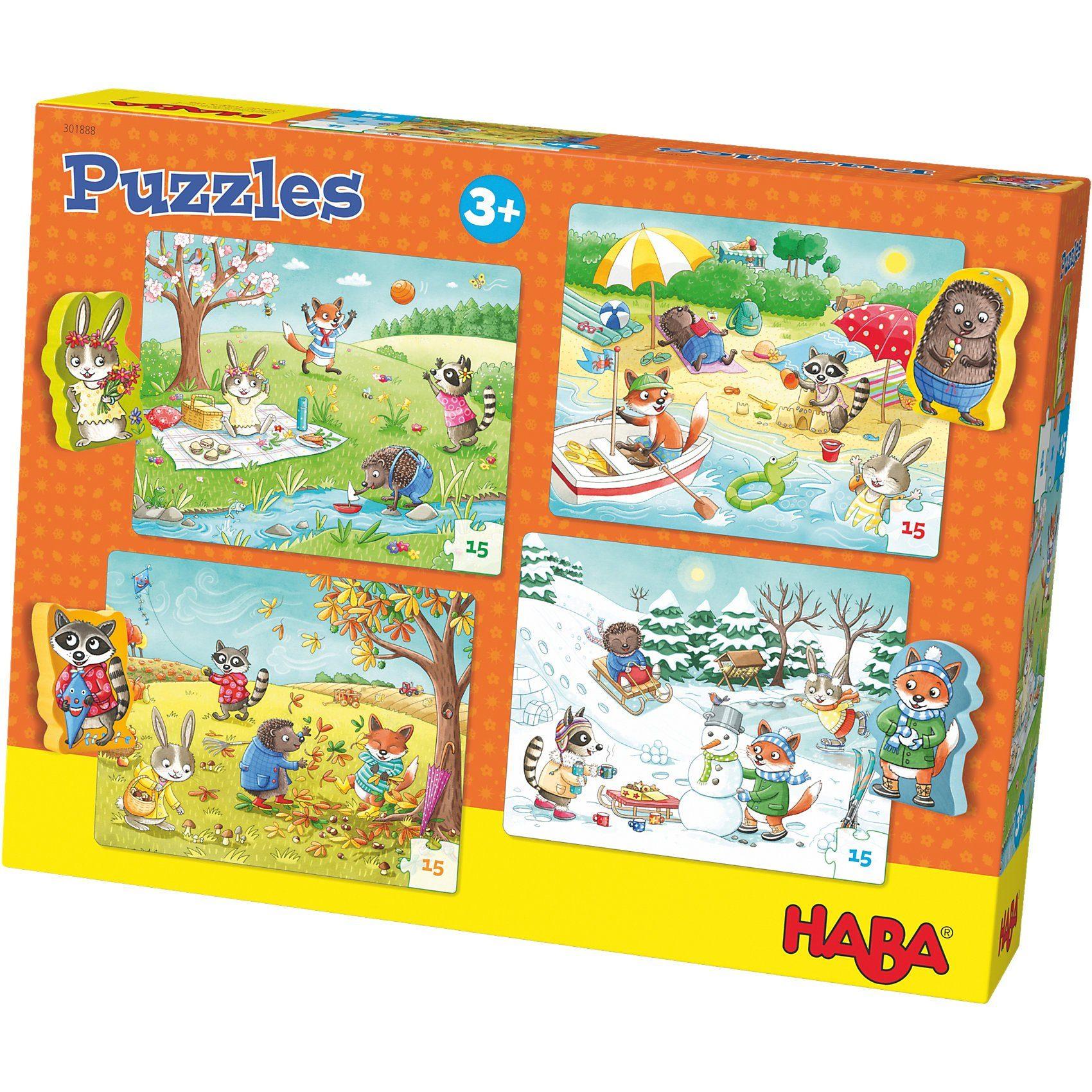Haba Puzzle-Set 4 x 15 Teile - Jahreszeiten