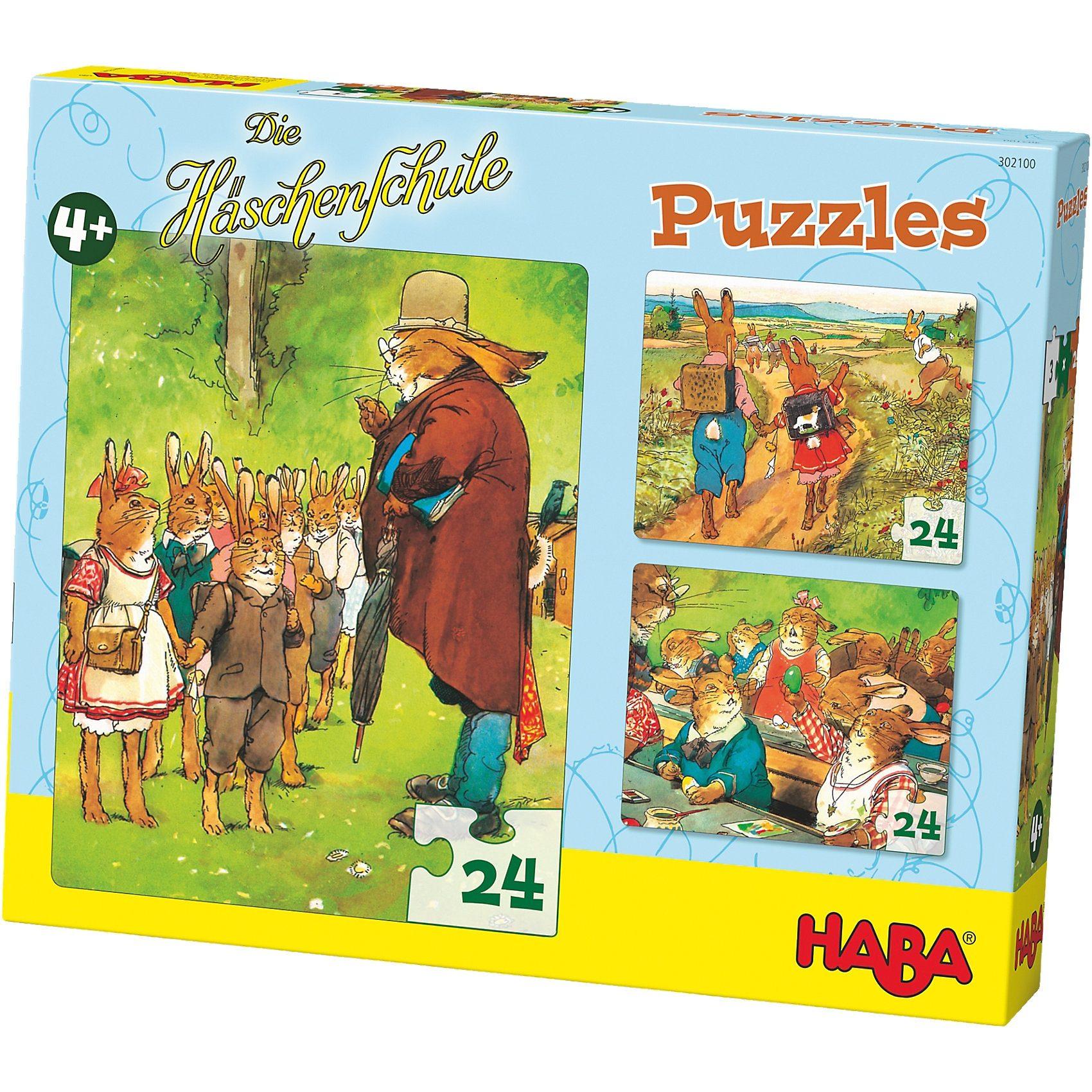 Haba Puzzle-Set 3 x 24 Teile - Die Häschenschule