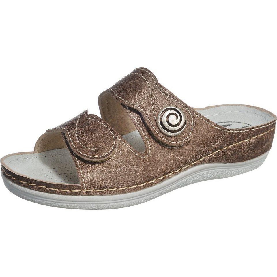 Franken-Schuhe Pantoletten weit in bronze
