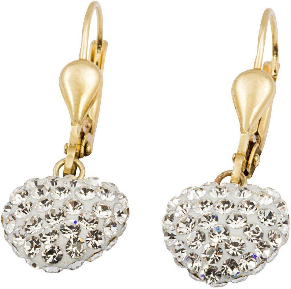 firetti Paar Ohrhänger, mit Kristallen, »Herz« in Gelbgold 375