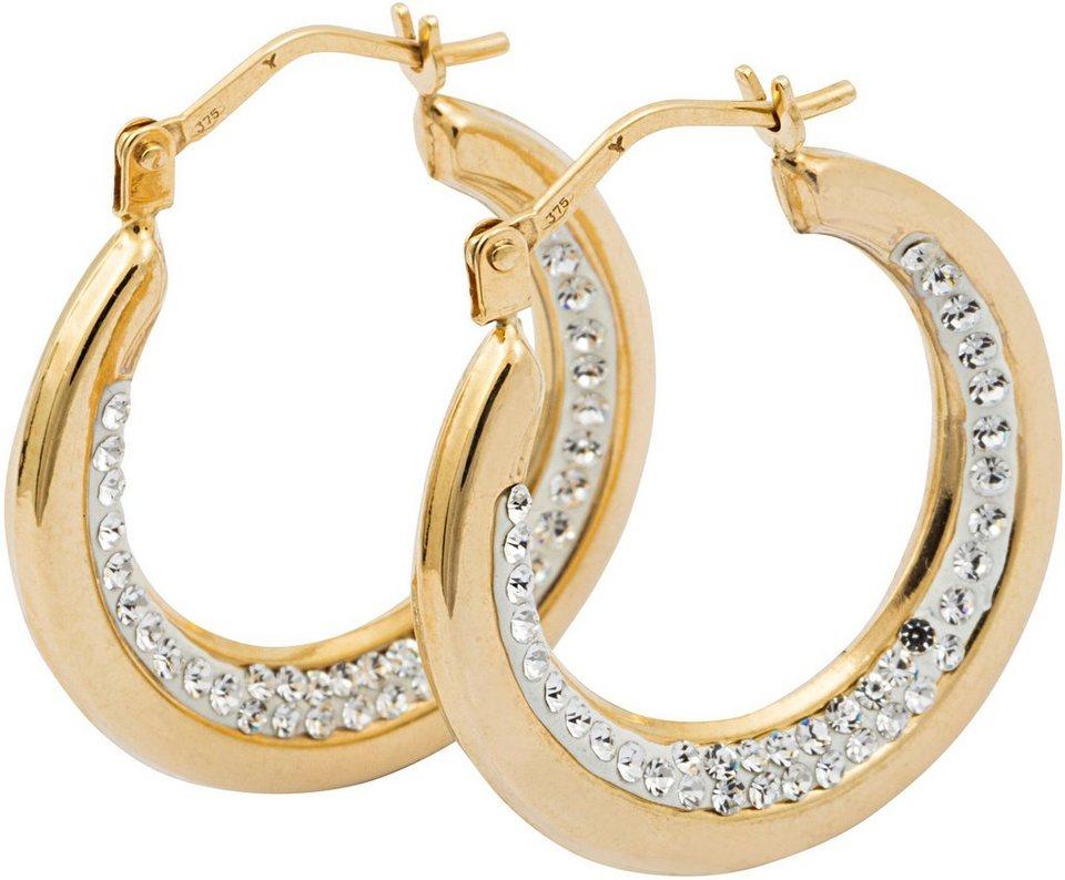 firetti Paar Creolen mit Swarovski® Kristallen in Gelbgold 375