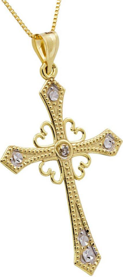 firetti Kette mit Anhänger, mit Diamant, »Kreuz« in Gelbgold 375