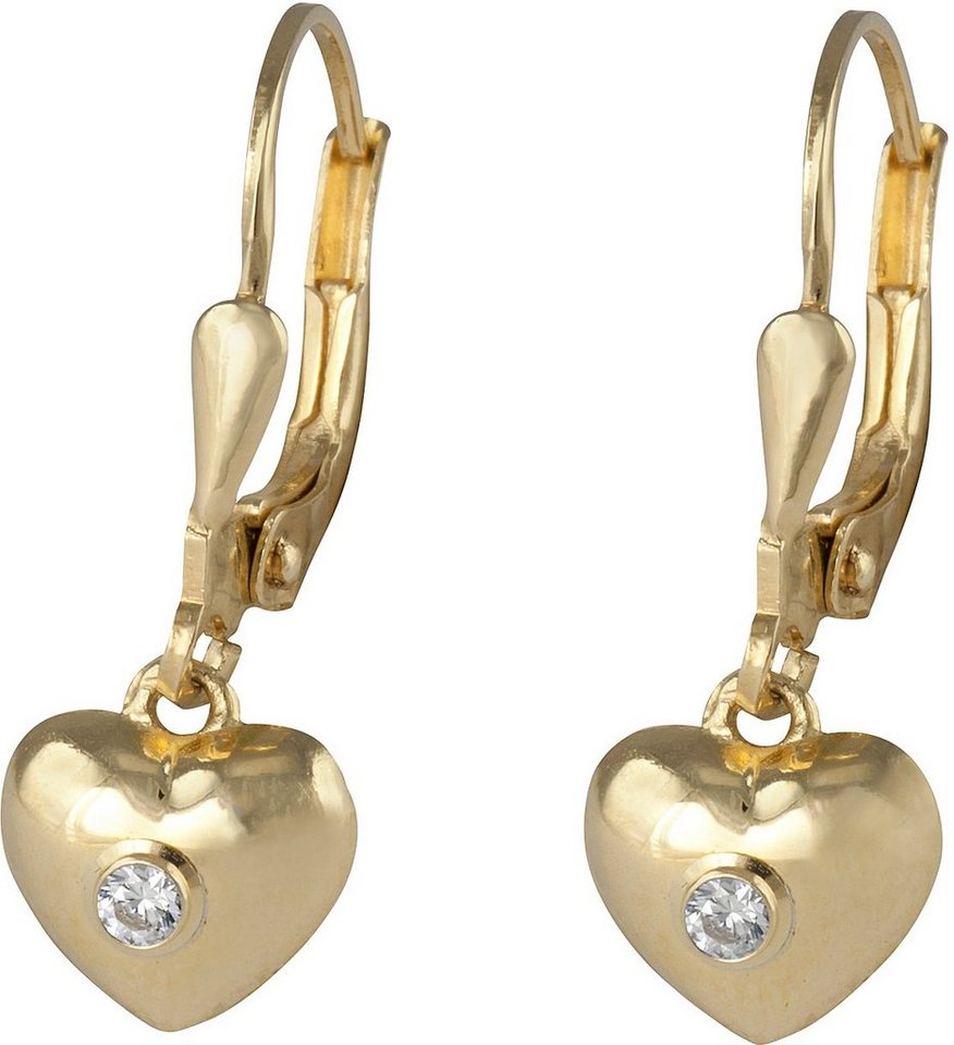 firetti Paar Ohrhänger, Paar Ohrhänger, »Herz« in Gelbgold 375