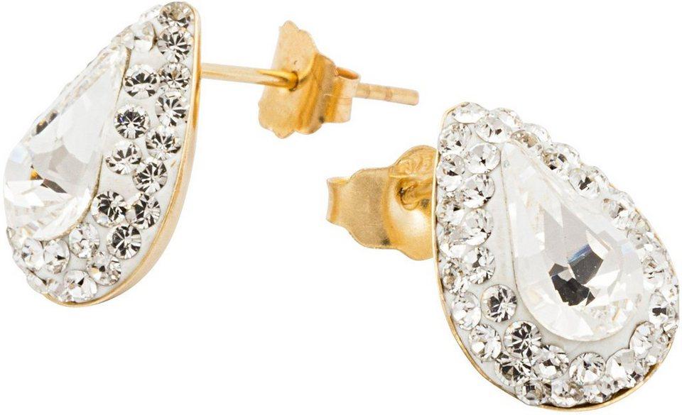 firetti Paar Ohrstecker, mit Swarovski® Kristallen, »Tropfen« in Gelbgold 375