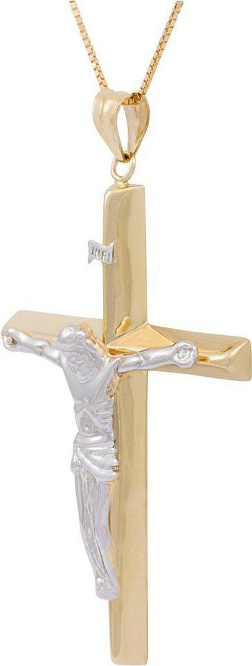 firetti Kette mit Anhänger, »Kreuz« in Gelbgold 585
