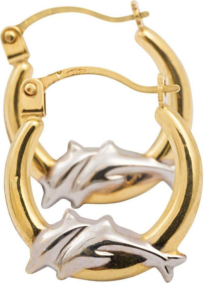 firetti Paar Creolen, »Delfine« in Gelbgold 375
