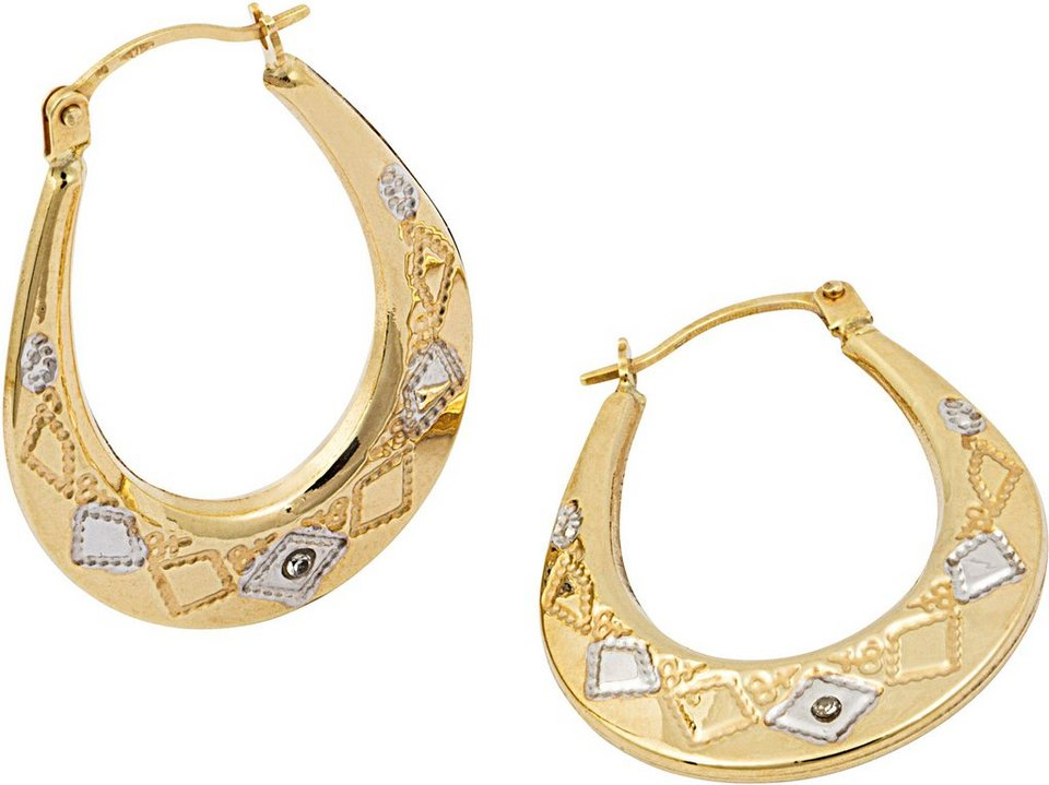 firetti Paar Creolen mit Diamanten in Gelbgold 375
