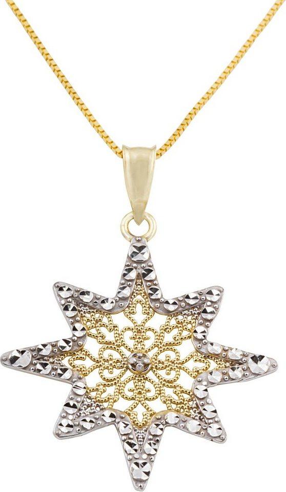 firetti Kette mit Anhänger, mit Diamant, »Stern« in Gelbgold 375