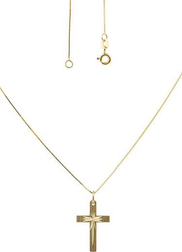 Firetti Kette mit Anhänger »Kreuz  glanz/matt  diamantiert«