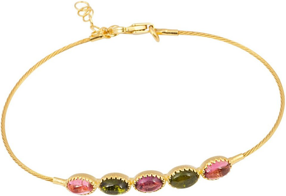 vivance jewels Armband mit Turmalinen in Gelbgold 585-Rosa-Grün