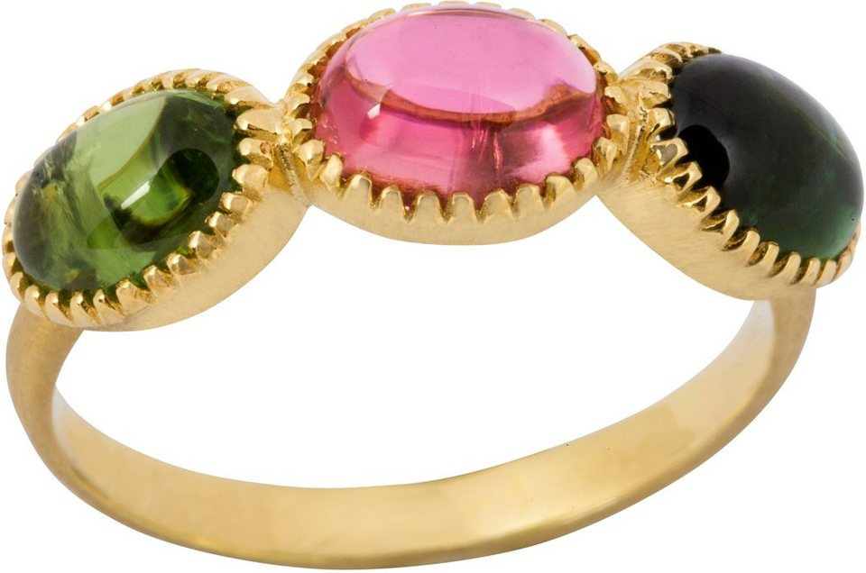 vivance jewels Ring mit Turmalinen in Gelbgold 585-Rosa-Grün-Petrol