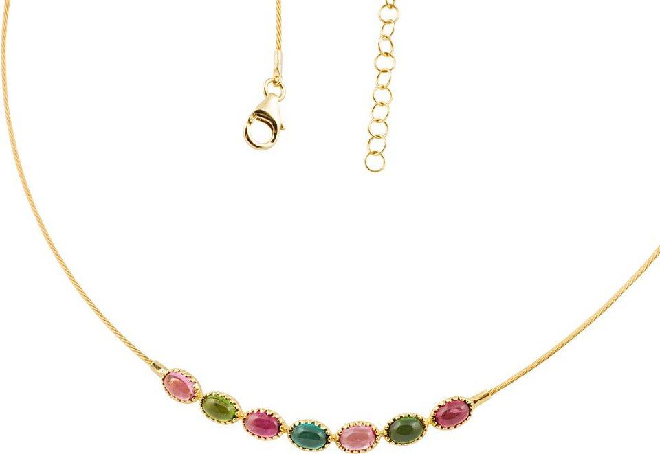 Vivance Jewels Kette mit echten Turmalinen in Gelbgold 585-Rosa-Grün-Petrol