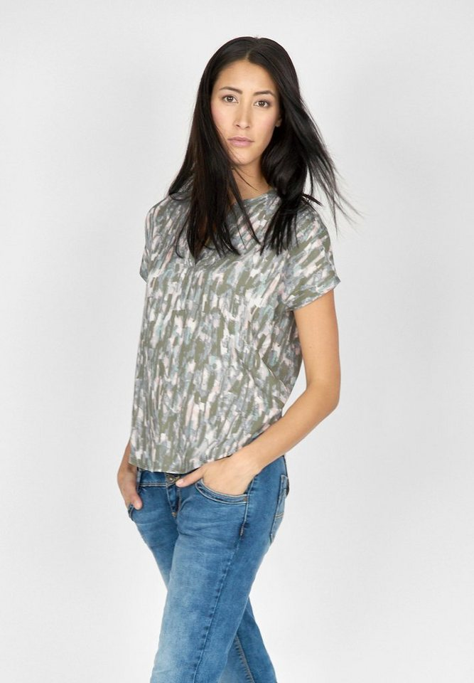 Street One Materialmix-Shirt Bibi in granite sage
