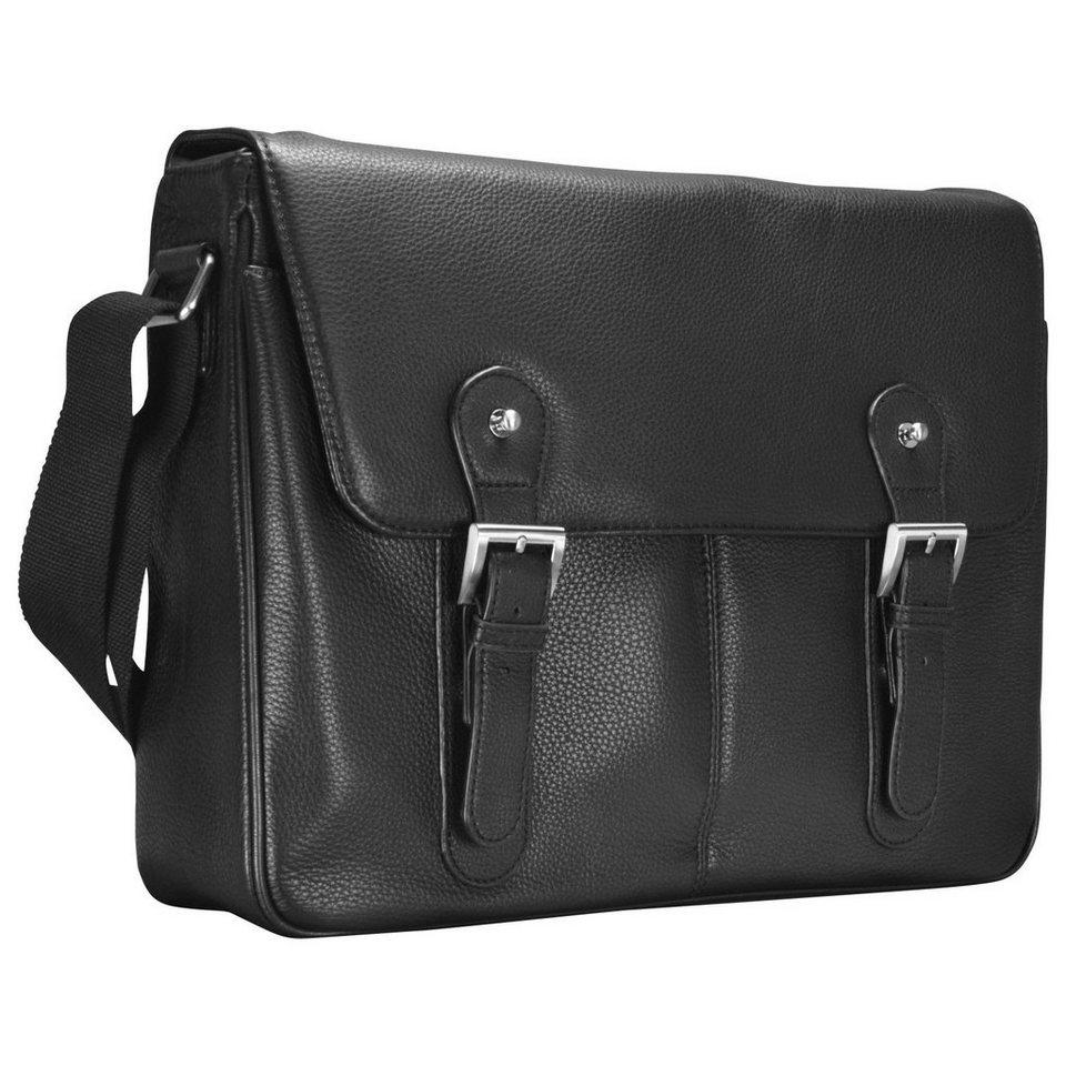 d & n Basic Messenger Tasche Leder 40 cm Laptopfach in schwarz