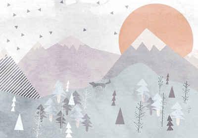 Komar Fototapete »Fox Journey«, glatt, bedruckt, Comic, Retro, mehrfarbig, BxH: 400x280 cm