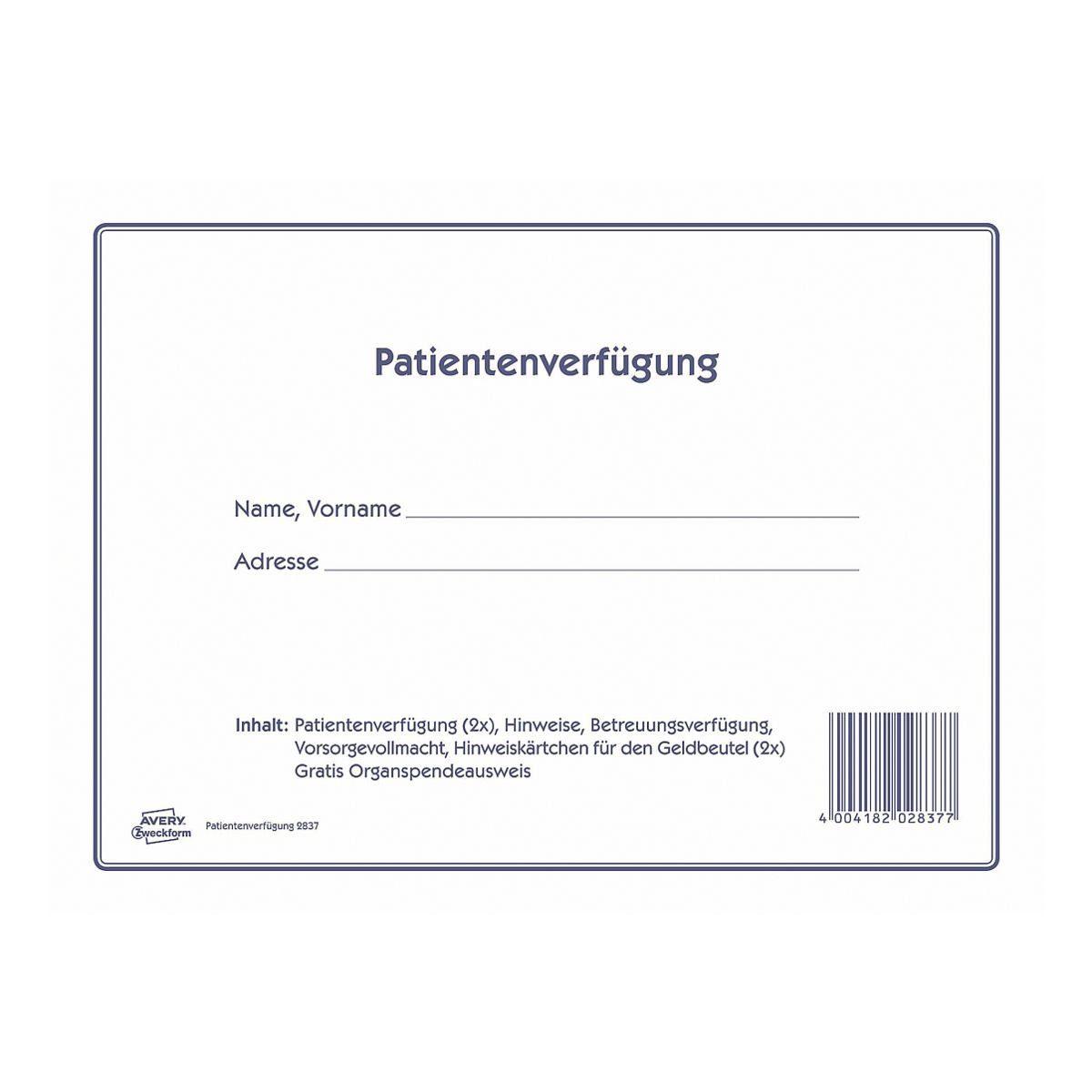 Avery Zweckform Formularvordruck »Patientenverfügung«